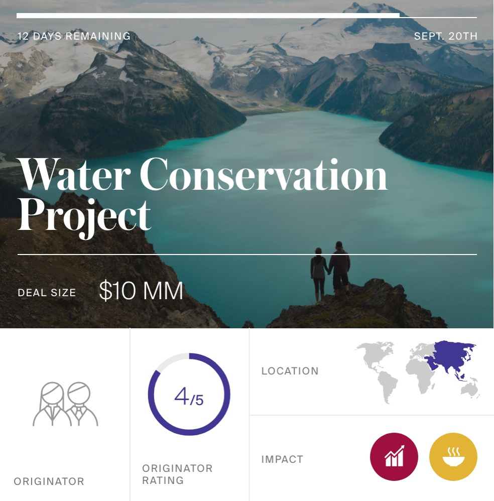 Example investment dashboard for a water conservation project